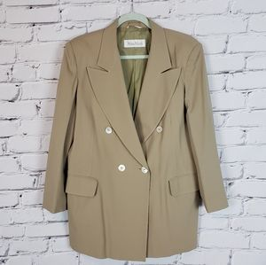 MaxMara Tan Wool Double Breasted Jacket